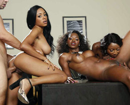 Lucky dude cums on faces of ebony..